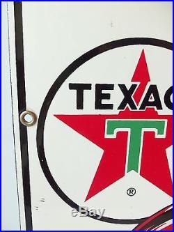 Vintage 1960s Texaco Fire Chief Porcelain Gas Pump Sign Gas Station Gasoline A+