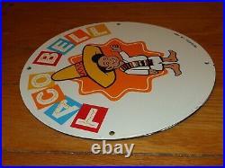 Vintage 1962 Nos Taco Bell Boy Fast Food 11 3/4 Porcelain Metal Gas Oil Sign