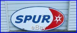 Vintage 1962 Spur Gasoline 8 Foot Porcelain Gas Sign Motor Oil Service Station