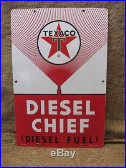 Vintage 1963 Porcelain Texaco Diesel Chief Gas Station Sign Antique Oil 9287
