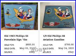 Vintage 1963 The Jetson's & Phillips 66 Gasoline 12.5 Porcelain Metal Oil Sign