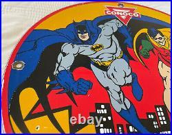Vintage 1965 Batman N-tane Conoco Gasoline 12 Porcelain Marvel Comic Oil Sign