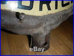 Vintage 24 Pennzoil Brown Bell Porcelain Lollipop Sign with Metal Ring
