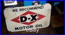 Vintage 2sid Porcelain DX Motor Oil Gas Gasoline Sign D-X Service Station 30x20