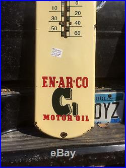 Vintage 39 X 8inch Enarco Motor Oil Porcelain Thermometer Sign Gas / Boy Graphic