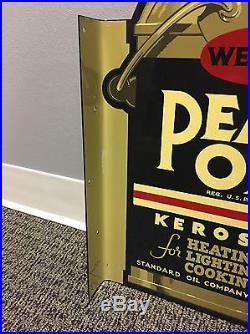 Vintage'47 Original Pearl Oil Kerosene Double Sided Flange Sign Not Porcelain