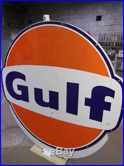 Vintage 6 ft x 6 ft Porcelain Original Gulf Oil Gas Station Sign Double Sided