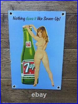 Vintage 7 Up Heavy Porcelain Sign 12 X8 Soda Cola Sign