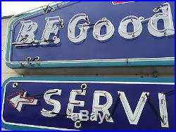 Vintage 8 foot BF Goodrich porcelain neon sign with neon service arrow
