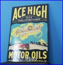 Vintage Ace High Gasoline Porcelain Gas Service Station Service Minnesota Sign
