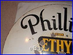 Vintage Antique Phillips 66 Gas Oil Ethyl Anti Engine Knock 30 Porcelain Sign