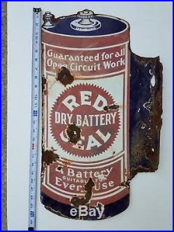 Vintage / Antique Rare Red Seal Dry Battery Double Sided Porcelain Flanged Sign