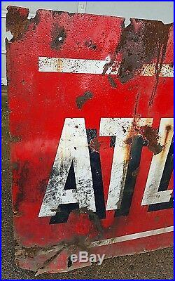 Vintage Atlantic Gas & Oil Double Sided Porcelain Sign 72 x 42 Rusty Barn Hanger