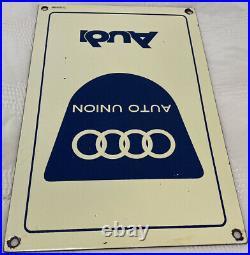 Vintage Audi Porcelain Dealership Sign Gas Oil Stuttgart Germany Ferrari Vw