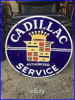 Vintage Authentic Cadillac Authorized Service 2 Sided Porcelain Dealership Sign