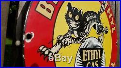 Vintage Bearcat Gasoline Porcelain Gas Ethyl Motor Oil Service Station Pump Sign