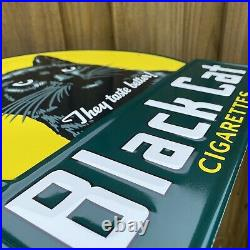 Vintage Black Cat Cigarettes Embossed Metal Porcelain Sign USA Gas Station Oil