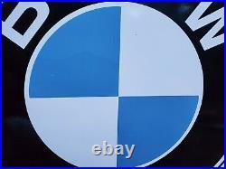 Vintage Bmw Automobile Porcelain Metal Gas Dealer German Sales Service Sign