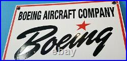 Vintage Boeing Aircraft Co Porcelain Gas Aviation Airplane Service & Sales Sign