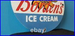 Vintage Borden's Ice Cream Porcelain Dairy Milk Gas Farm General Store Sign