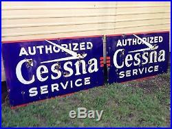 Vintage Cessna Aviation Large Porcelain Neon Sign Authorized Service