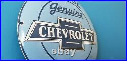 Vintage Chevrolet Porcelain Bow-tie Gas Trucks Service Sales Parts Sign