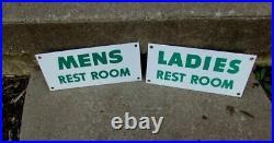 Vintage Cities Service Gas Station Mens & Womens Porcelain Restroom Sign s