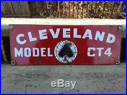 Vintage Cleveland Trencher Porcelain Pipeline Oil Well Lease Gas Sign