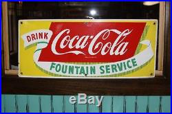 Vintage Coca Cola Fountain Service Porcelain Drink Sign Collectable Rare