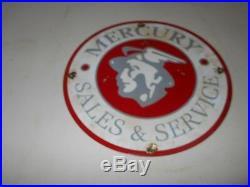 Vintage Collectible 12 Metal PorcelaIn MERCURY SALES & SERVICE ADVERTISING Sign