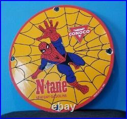 Vintage Conoco Porcelain Spiderman Gasoline Superhero Comic Book Oil Rack Sign