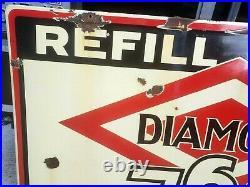 Vintage DIAMOND 760 MOTOR OIL porcelain Sign. Refill Here. Gas station