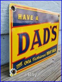 Vintage Dad's Old Fashioned Root Beer Porcelain Advertising Sign Soda Pop