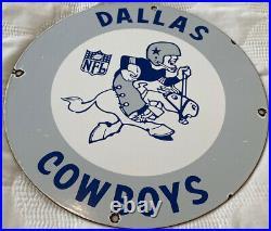 Vintage Dallas Cowboys Porcelain NFL Stadium Football Sports Service Gas Sign