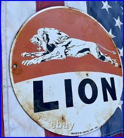 Vintage Dated 1933 Lion Gasoline Porcelain Service Gas Sign