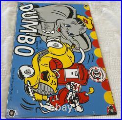Vintage Diamond D-x Gasoline & Oil Porcelain Sign Station Pump Gas Disney Dumbo