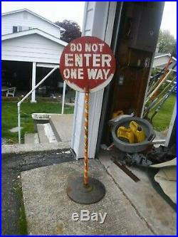 Vintage Do Not Enter One Way Free Standing Lollipop Sign ratrod gas oil garage