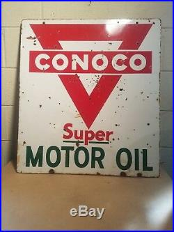 Vintage Double Side Porcelain Advertising Sign Conoco Motor Oil Rare Sign