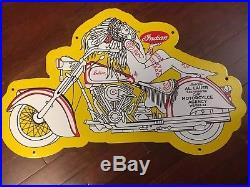 Vintage Double Sided Indian Motorcycle Porcelain Sign