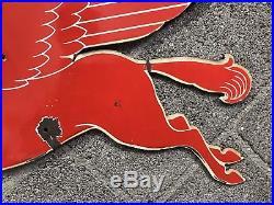 Vintage Double Sided Mobil Oil Pegasus Original Porcelain Weather Vane Sign