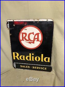 Vintage Double Sided Victor Porcelain Sign Steel Thick Radiola RCA Sales Service