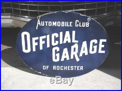 Vintage EXTREMELY RARE, ROCHESTER OFFICIAL GARAGE, 2 SIDED PORCELAIN SIGN