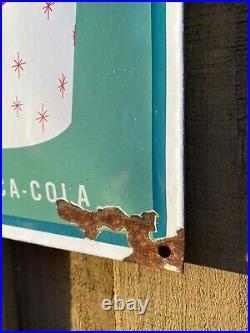Vintage Enjoy Coca Cola Porcelain Metal Sign Stamped USA Oil Gas Coke