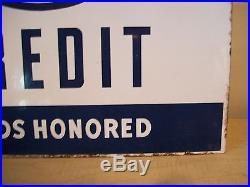 Vintage Esso Credit Card Honored Porcelain Pole Sign w Brackets-Gas Station-Oil