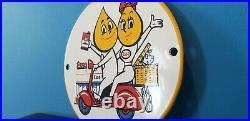 Vintage Esso Gas Porcelain Gasoline Motor Oil Service Station Pump Plate Sign