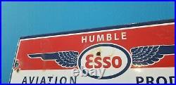Vintage Esso Gasoline Porcelain Aviation Gas Oil Service Station Airplane Sign