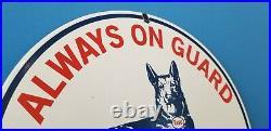 Vintage Esso Gasoline Porcelain Gas Dog Service Station Pump Plate Sign