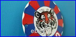 Vintage Esso Gasoline Porcelain Gas Oil Tiger Service Station Pump Plate 6 Sign