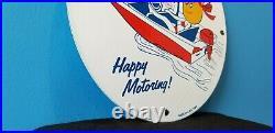Vintage Esso Gasoline Porcelain Marine Happy Motoring Service Station Pump Sign