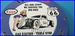 Vintage Esso Gasoline Porcelain Route 66 Eva's Gas Truck Service Pump Plate Sign